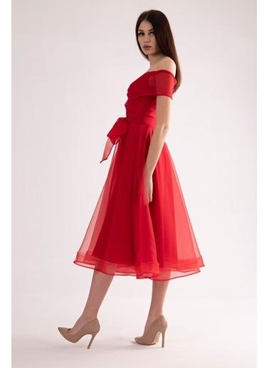 Belamore  Kırmızı Kayık Yaka Abiye&Mezuniyet Elbisesi 9704811.08 Kırmızı